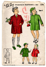 1940's DuBarry Child's Coat with Button or Fly Front Pattern - 4 years - No. 5570
