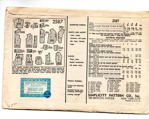 1940's Simplicity Boy's Shirt and Shorts Pattern - 4 years - No. 2587