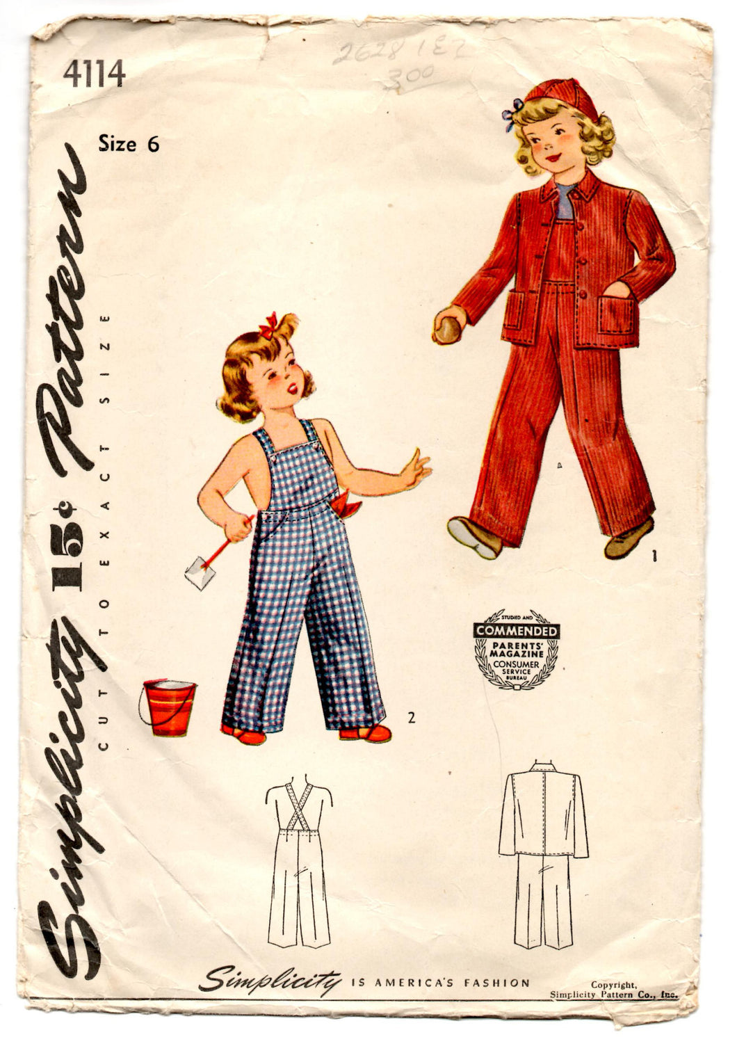 1940's Simplicity Child's Jacket, Overalls, and Cap Pattern - 6 years - No. 4114