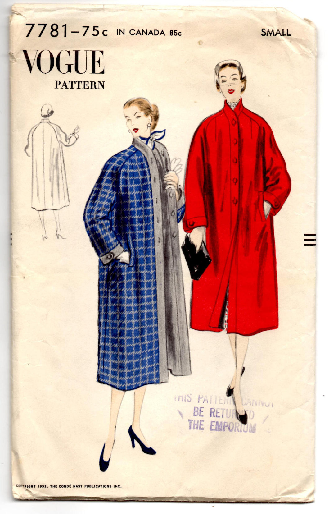 1950's Vogue Reversible Coat Pattern - Bust 30-32