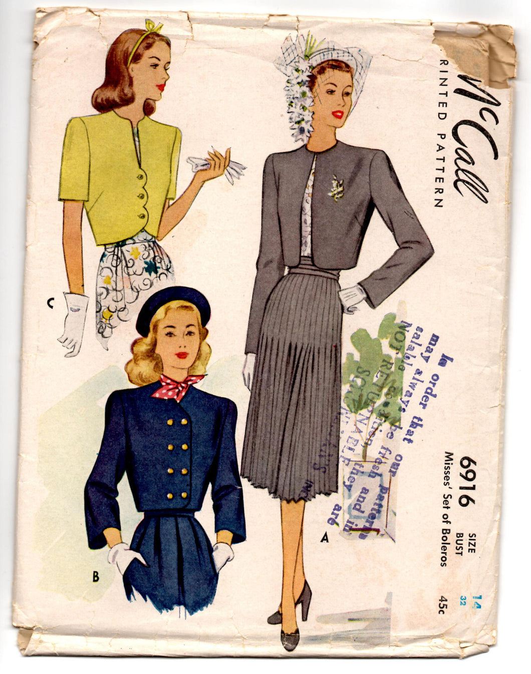 1940's McCall Bolero Jacket pattern, Double-breasted, button up or open Pattern - Bust 32