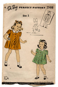 1940's DuBarry Girl's Pleated Dress Pattern - 2 years - No. 2749B