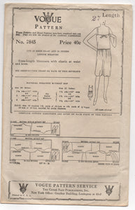 "1920's Vogue Bloomers Pattern - Length 27"" - No. 7845"