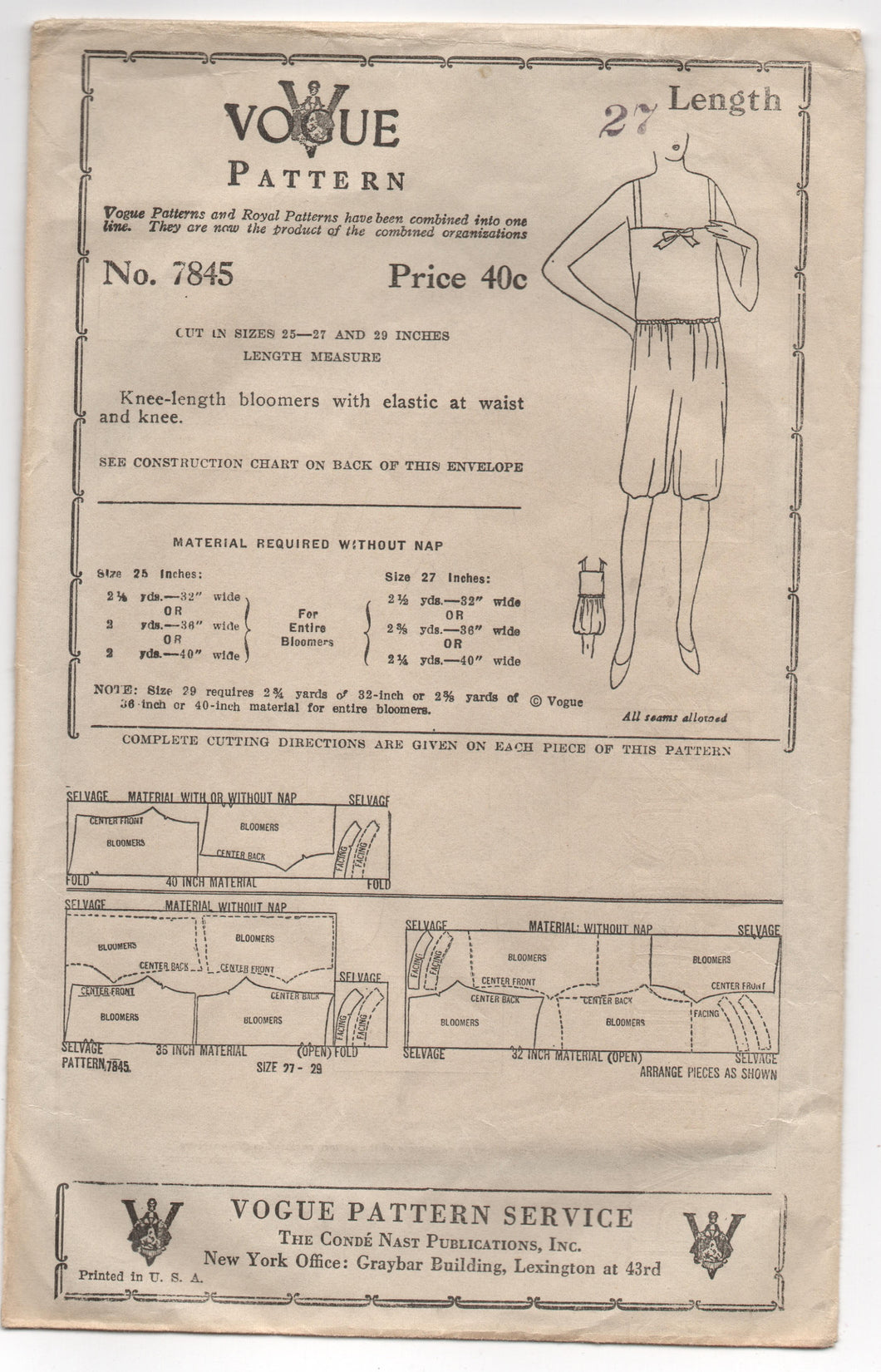 1920's Vogue Bloomers Pattern - Length 27