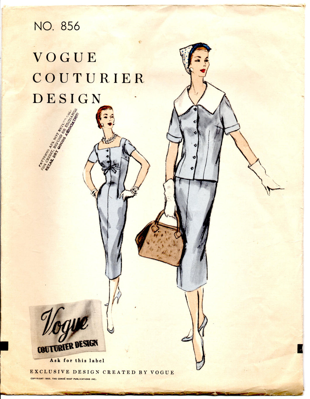 1950's Vogue Couturier Design One-Piece Dress with Bow detail and Jacket Pattern - Bust 30