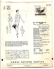 "1950's Vogue Couturier Design One-Piece Dress with Bow detail and Jacket Pattern - Bust 30"" - No. 856"