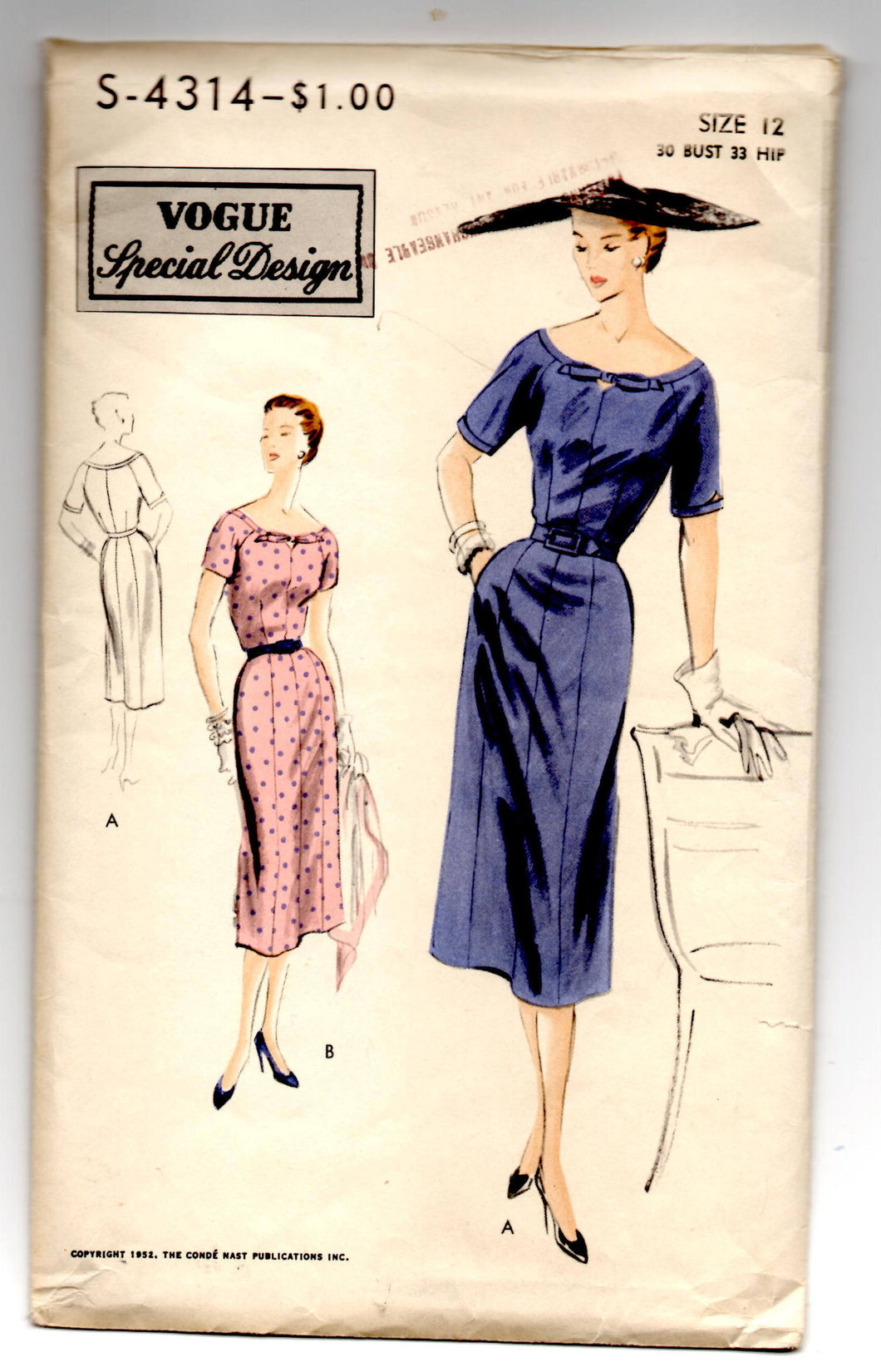 1950's Vogue Special Design One Piece Dress with Slim Bow and Keyhole Sleeve Pattern - Bust 30
