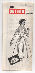 "1950's Parade One Piece Halter Wrap Dress with Sweetheart Neckline and Large Pockets Pattern  - Bust 30"" - No. 434"