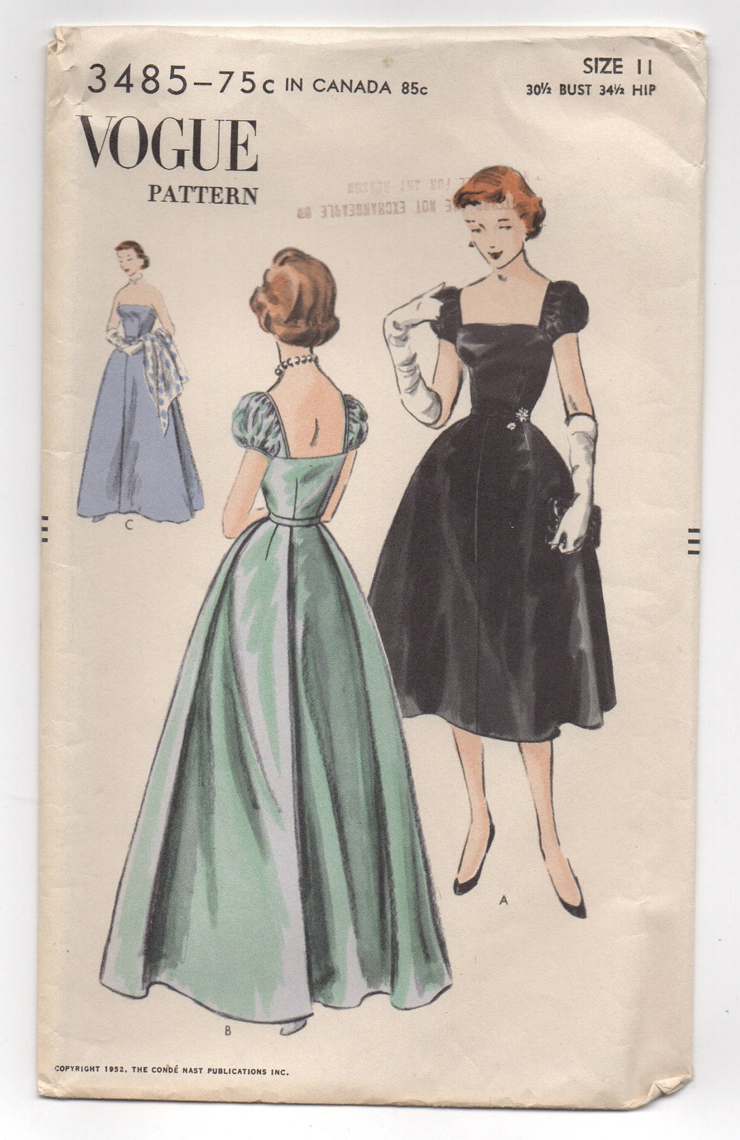1950's Vogue Evening Dress with either Poof Sleeves or Strapless Pattern - Bust 30.5