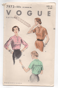 "1950's Vogue Blouse with Flat front and Touched Back in Two Sleeve lengths Pattern - Bust 30"" - No. 7973"