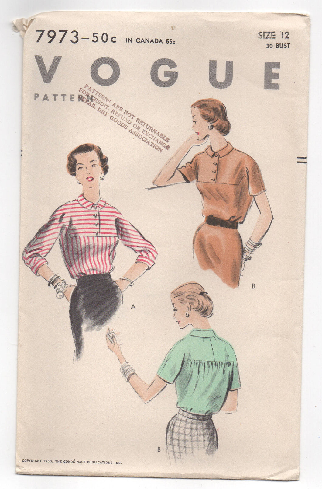 1950's Vogue Blouse with Flat front and Touched Back in Two Sleeve lengths Pattern - Bust 30