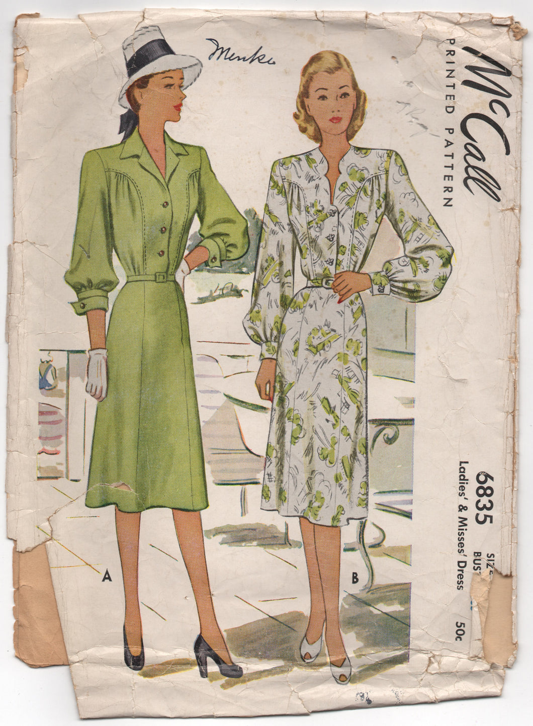 1940's McCall One Piece Shirtwaist Dress with Collar or Notched Neckline Pattern - Bust 36