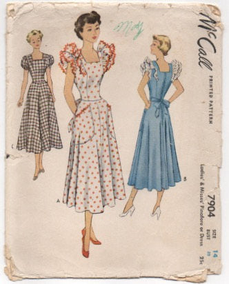 1940's McCall One Piece Day Dress with Double Pinafore or Cap Sleeve Pattern - Bust 32
