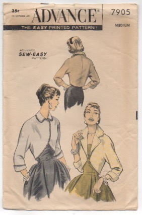 1950's Advance Bolero with Large collar Pattern - Bust 32-34