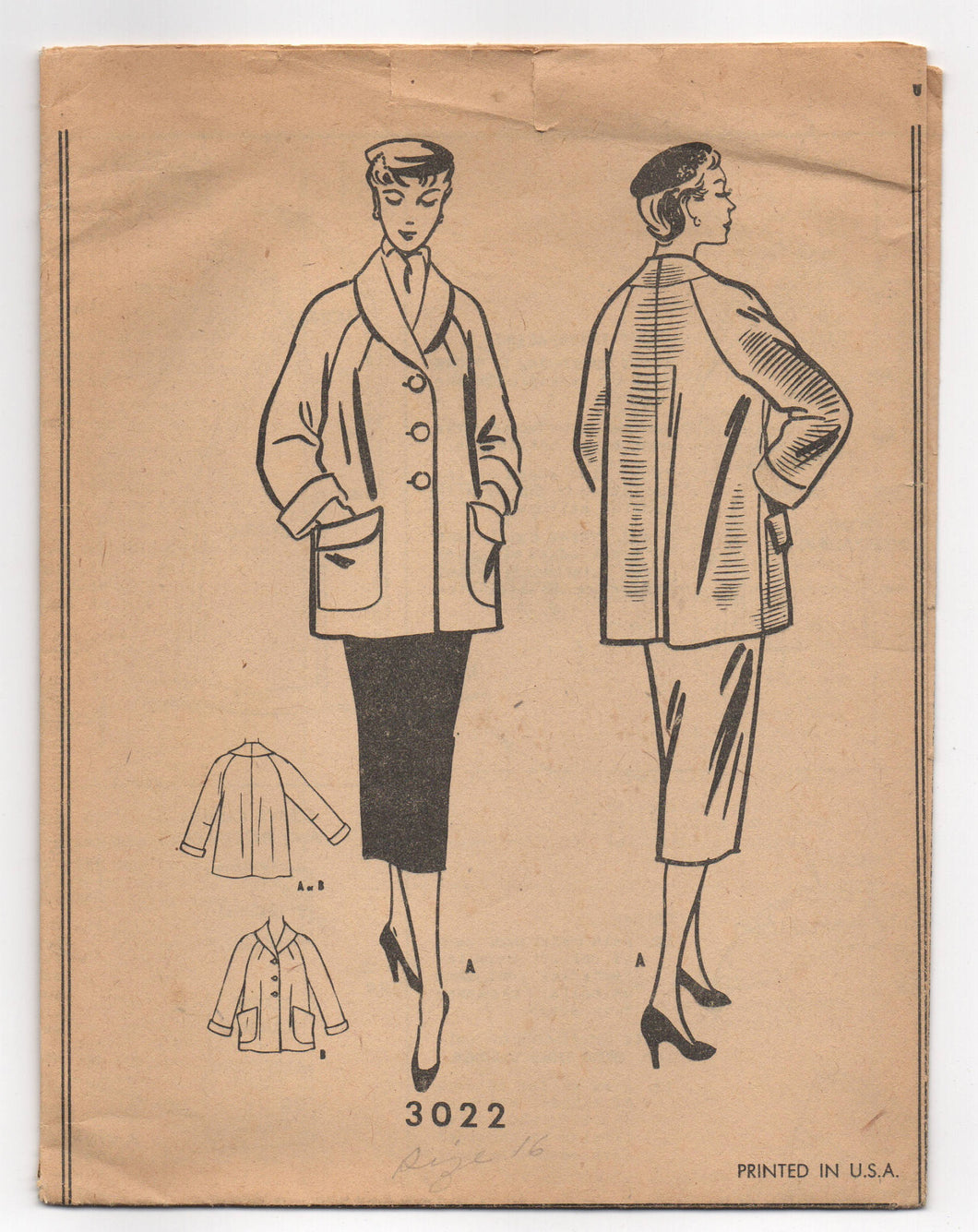 1950's McCall's Short Coat with Large Pockets Pattern - UC/FF - Bust 34
