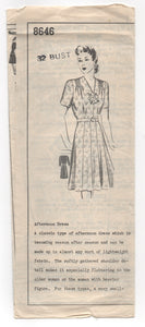 "1940's Mail Order One Piece Dress with Gathered Shoulders and Two Sleeve options Pattern - Bust 32"" - No. 8646"