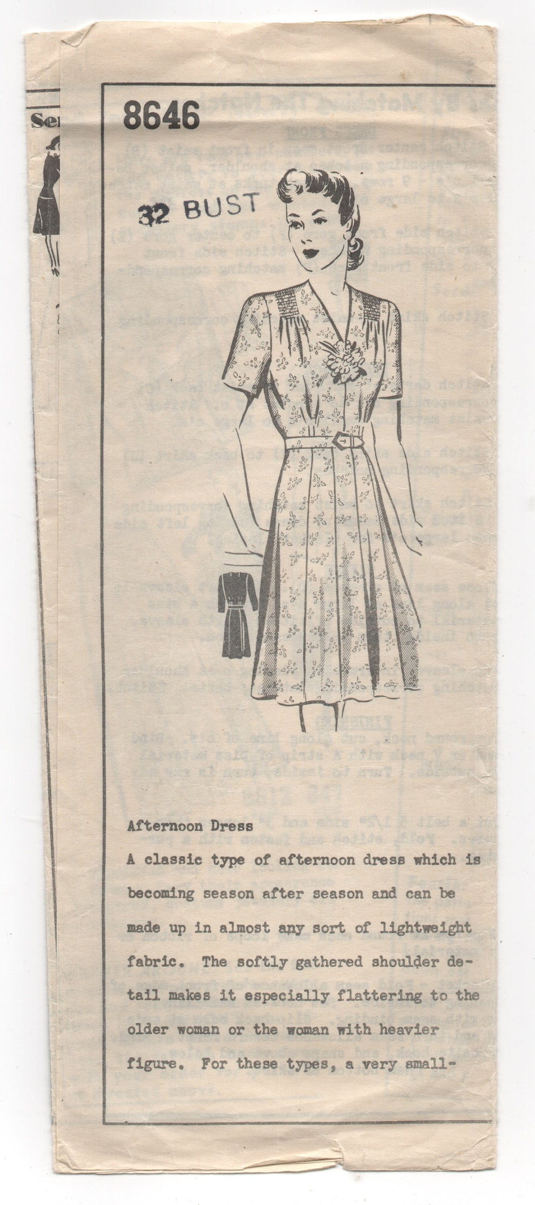 1940's Mail Order One Piece Dress with Gathered Shoulders and Two Sleeve options Pattern - Bust 32