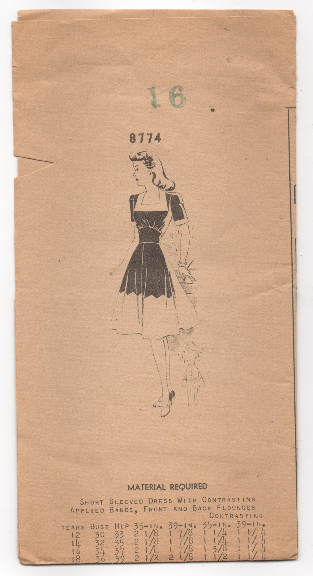 1940's Mail Order One Piece Dress with Zig Zag contrast on Skirt Pattern - Bust 34