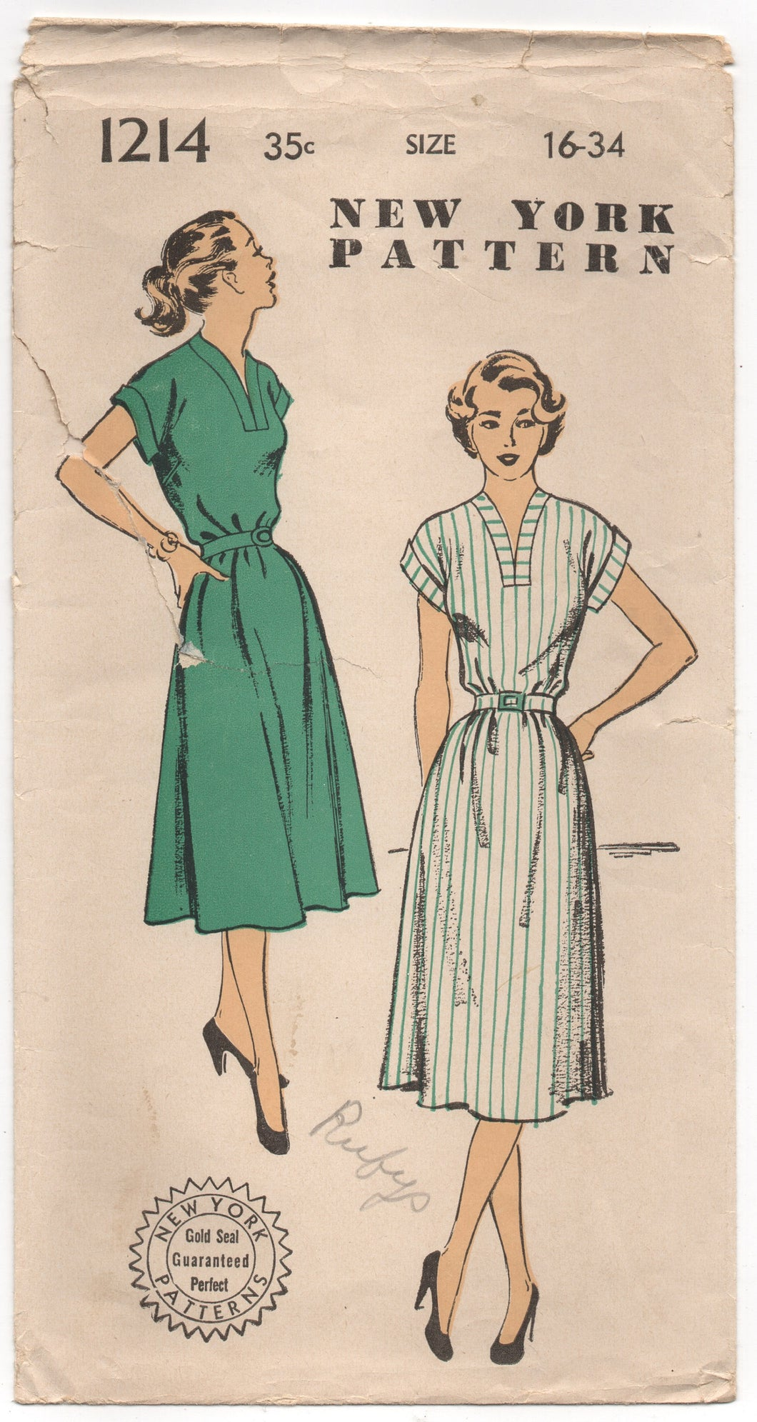1950's New York One-Piece Dress with V neck and Cap Sleeves Pattern - Bust 34