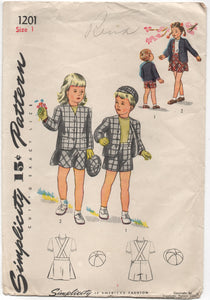 1940's Simplicity Brother and Sister Suit and Hat Pattern - 1 years - UC/FF - No. 1202