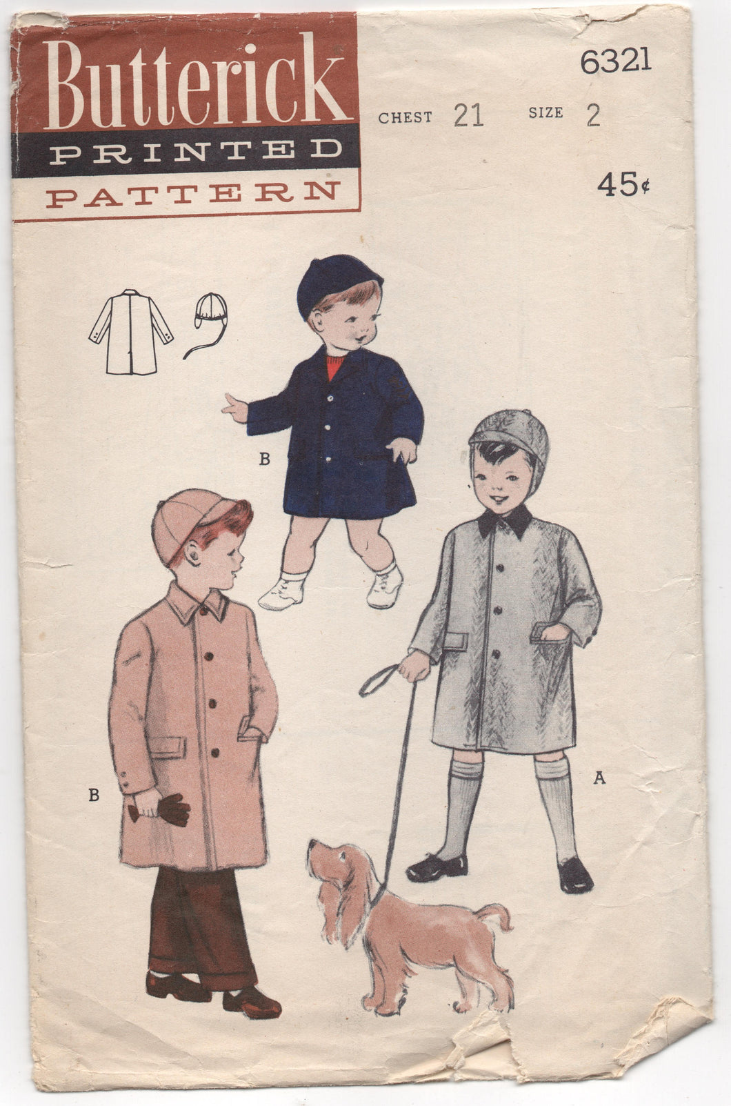 1950's Butterick Boy's Coat and Hat Pattern - 2 years - No. 6321
