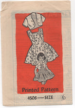 1950's Mail Order Girl's One Piece Dress with Button on Bolero Pattern - 6 years - UC/FF - No. 4506