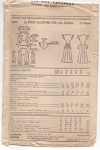 "1940's Advance One Piece Dress with Deep V Neck and Button on Apron Pattern - Bust 33"" - UC/FF - No. 4696"