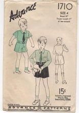 "1930's Advance Button up Shirt and Shorts Pattern - Breast 23"" - No. 1710"