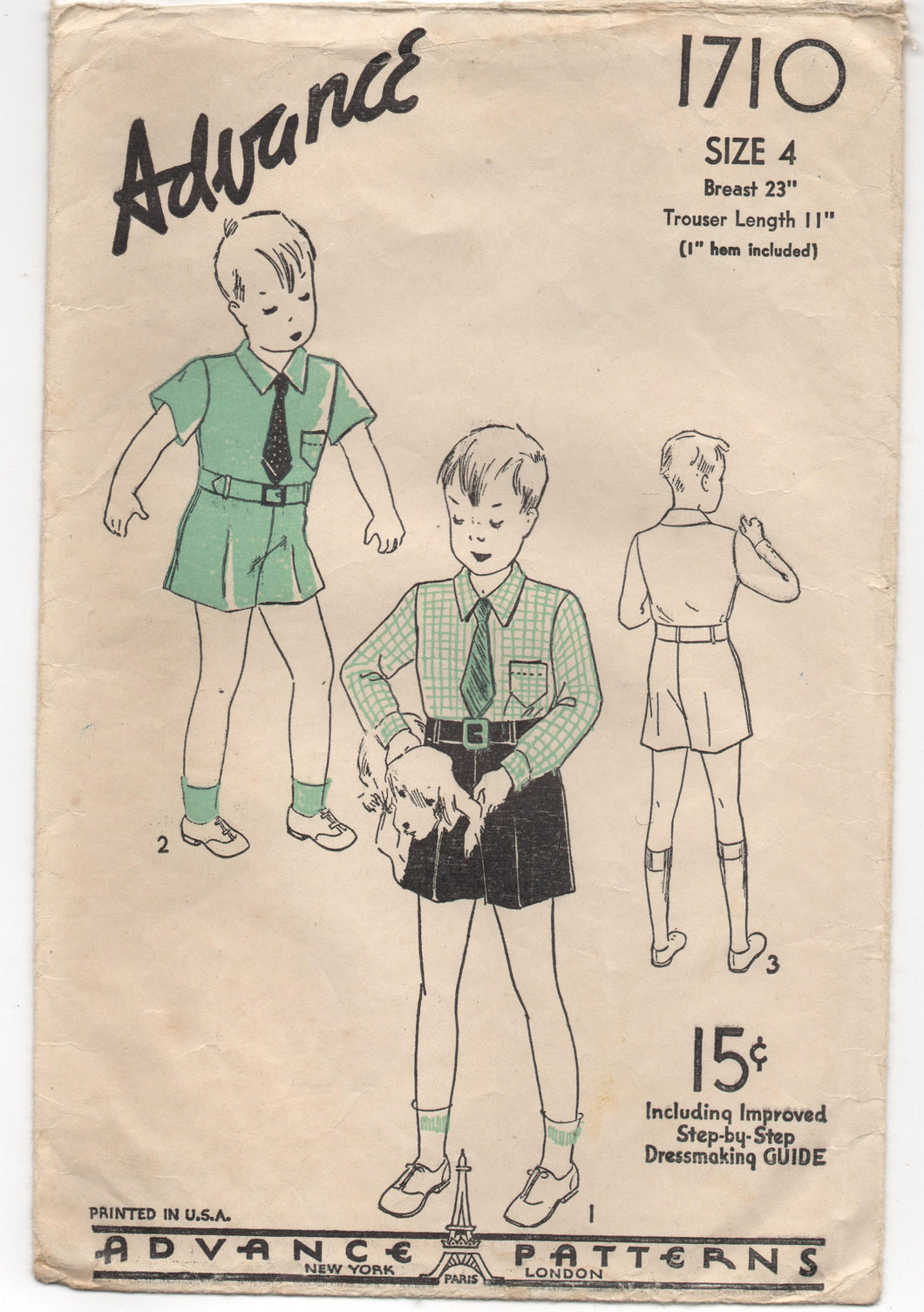 1930's Advance Button up Shirt and Shorts Pattern - Breast 23