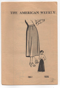 "1940's American Weekly A- Line Skirt Pattern - Waist 28"" - UC/FF - No. 3861"