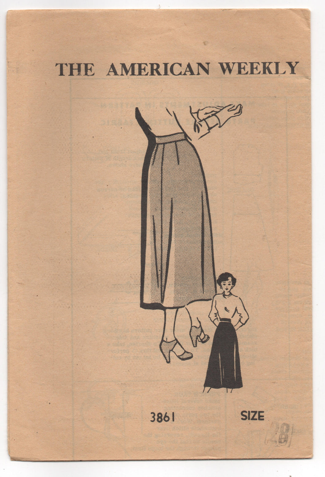 1940's American Weekly A- Line Skirt Pattern - Waist 28