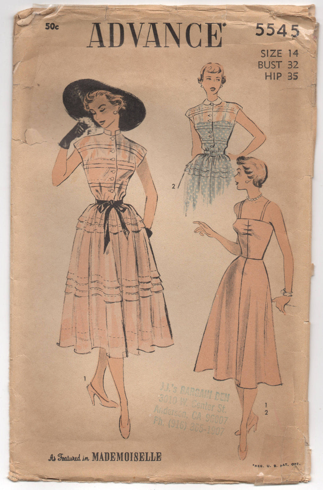 1950's Advance One Piece Dress with Tucked Bodice and Tucked Full Skirt and Slip Pattern - Bust 32