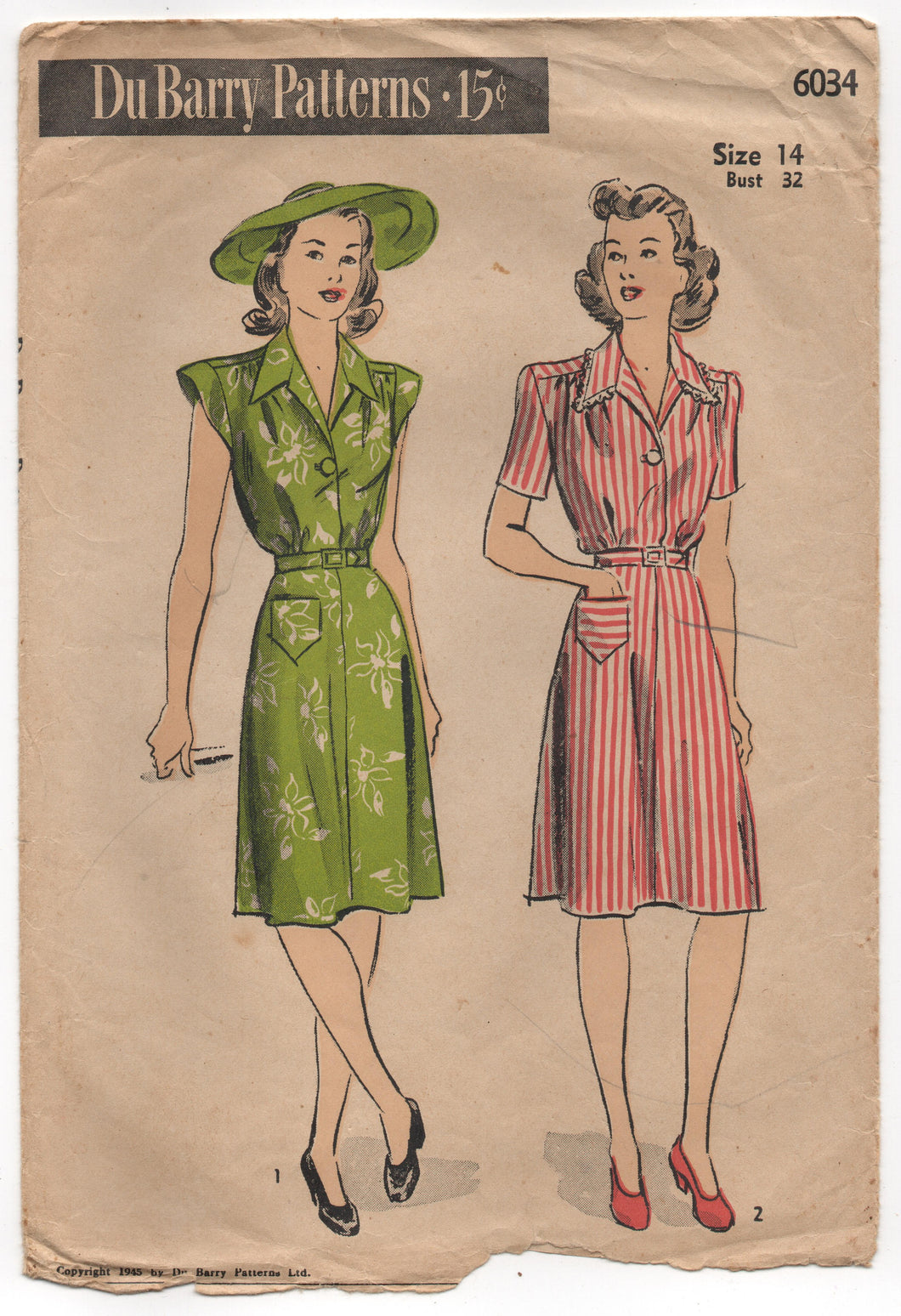 1940's DuBarry One Piece Shirtwaist Dress with Cap Sleeves and Patch Pocket Pattern - Bust 32