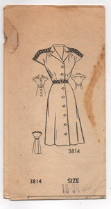 "1940's American Weekly One Piece Shirtwaist dress with Cap Sleeves and Contrast Yoke pattern - Bust 34"" - UC/FF - No. 3814"
