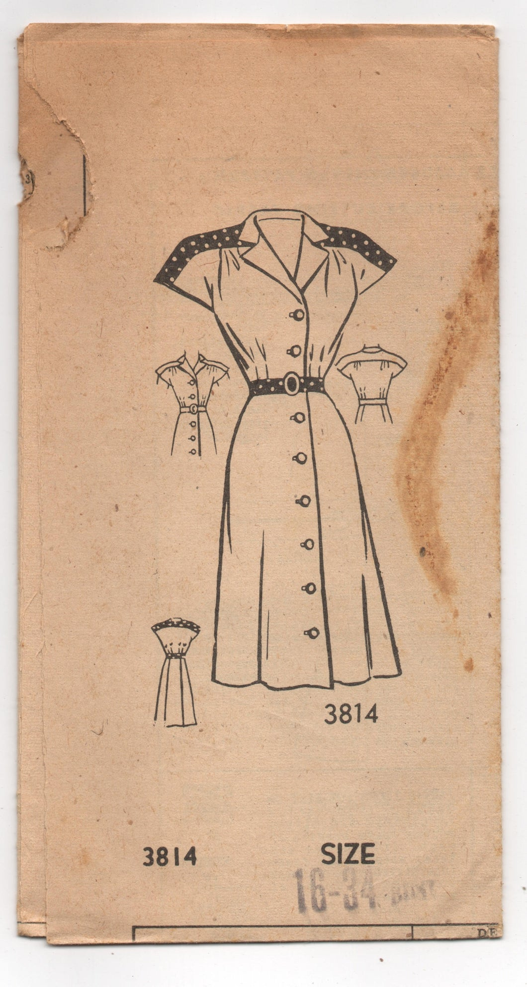 1940's American Weekly One Piece Shirtwaist dress with Cap Sleeves and Contrast Yoke pattern - Bust 34