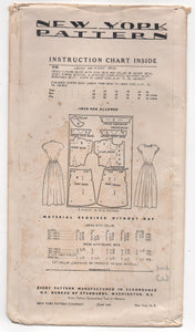 "1950's New York One-Piece Dress with Button Up Blouse and Full Skirt Pattern - Bust 38"" - No. 436"