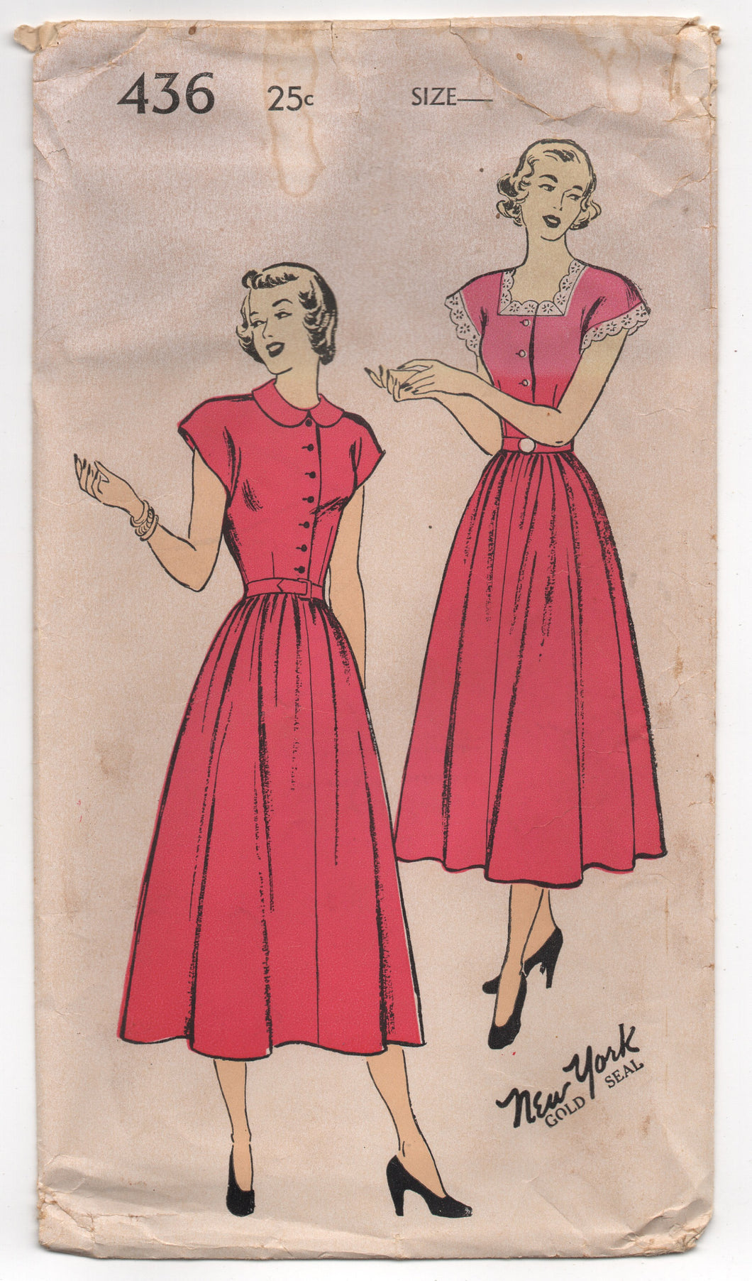 1950's New York One-Piece Dress with Button Up Blouse and Full Skirt Pattern - Bust 38
