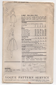 "1950's Vogue Special Design One Piece Dress with Wide Neck and Collar with Wrap and Full Pleated Skirt Pattern - Bust 32"" - No. s4857"