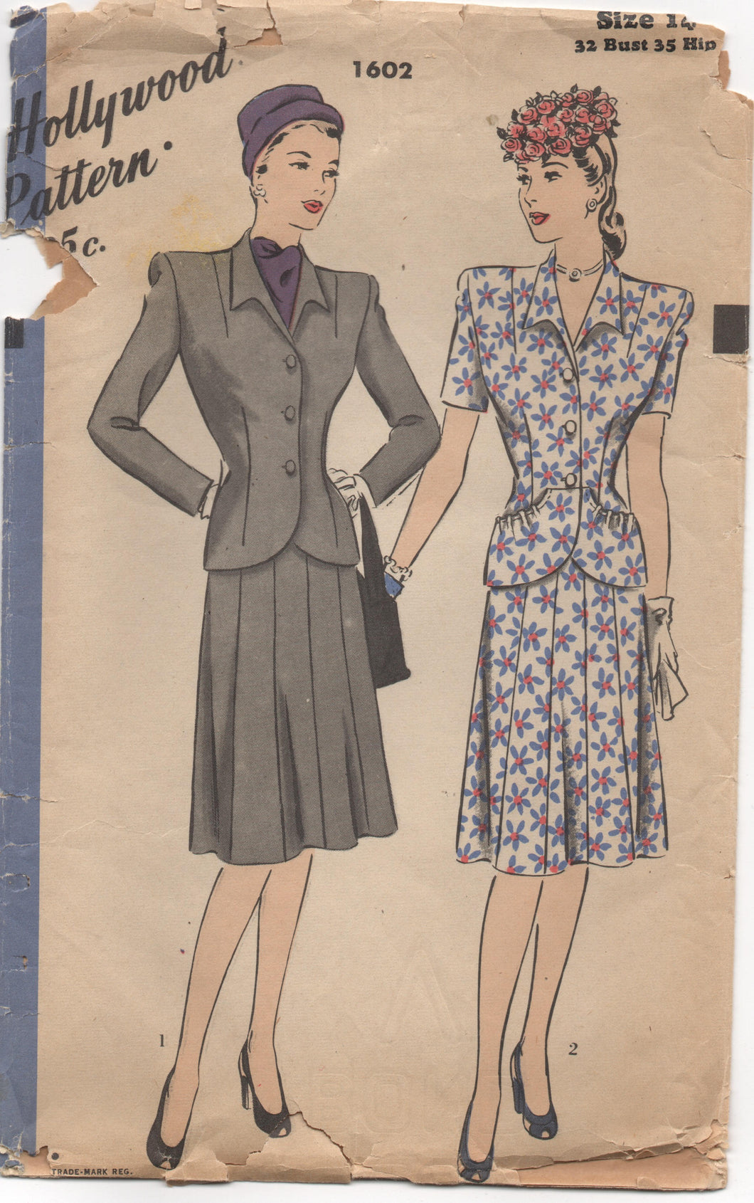 1940's Hollywood Two Piece Suit-Dress with Peplum Pockets - Bust 32
