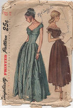 "1940's Simplicity Evening Gown with Sweetheart Neckline and V Drop Waist Pattern - Bust 32"" -  No. 2283"