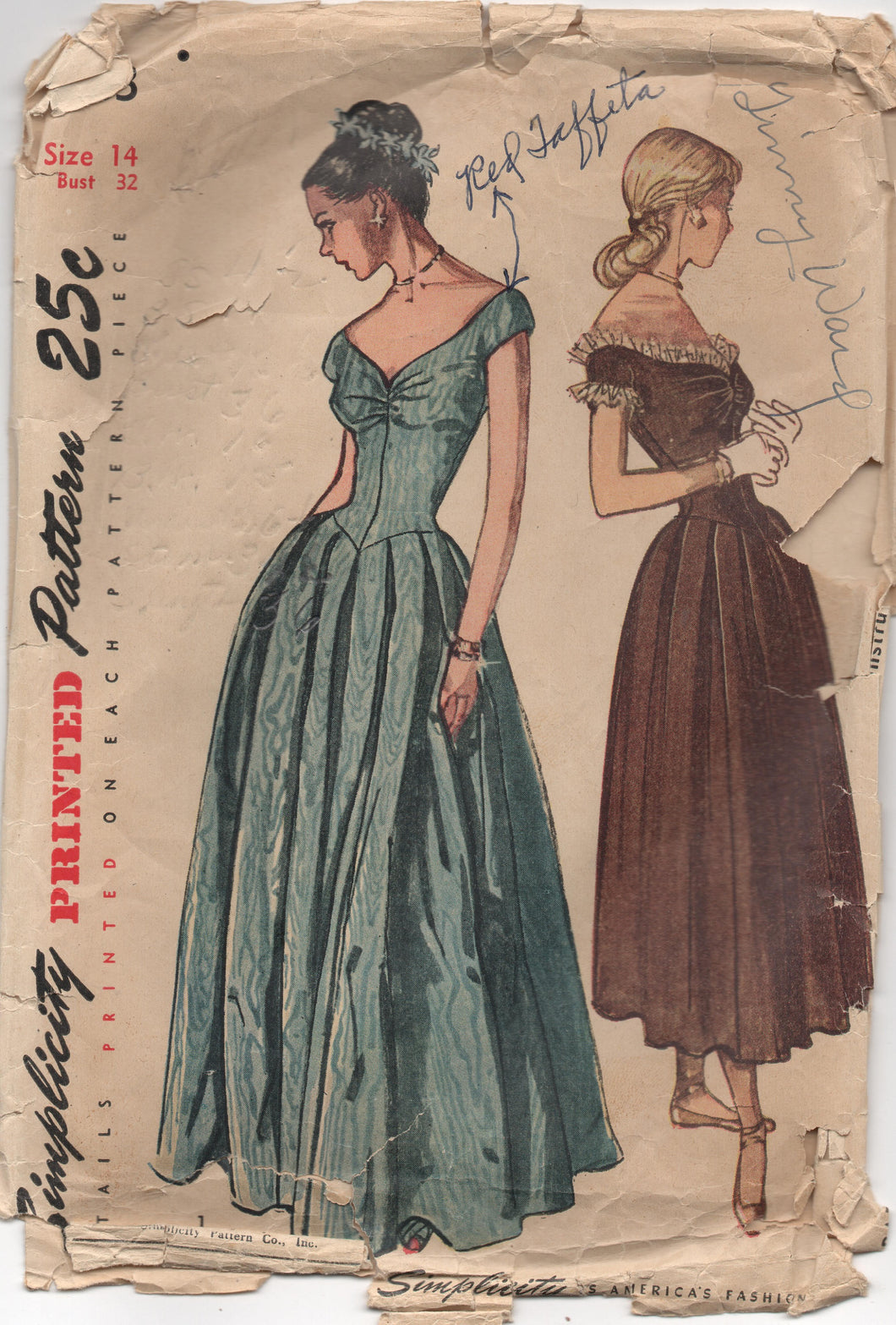 1940's Simplicity Evening Gown with Sweetheart Neckline and V Drop Waist Pattern - Bust 32