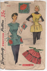 "1950's Simplicity Full Apron with Pockets, Potholder and Transfer Pattern - Bust 30-32"" - no. 4492"