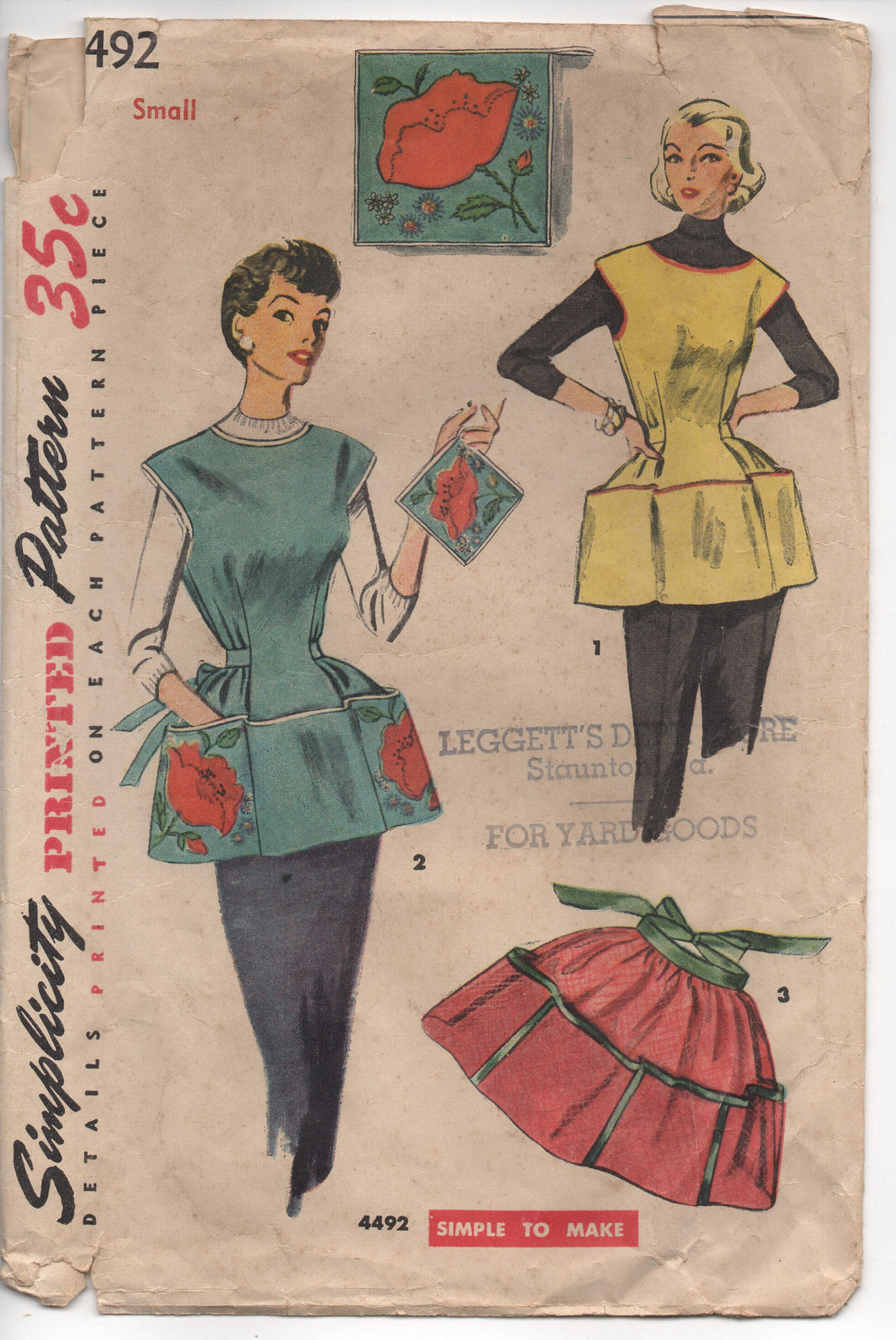 1950's Simplicity Full Apron with Pockets, Potholder and Transfer Pattern - Bust 30-32