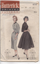 "1950's Butterick One Piece Dress with Sloped Shoulders and Bouffant Skirt Pattern - Bust 34"" - No. 6715"