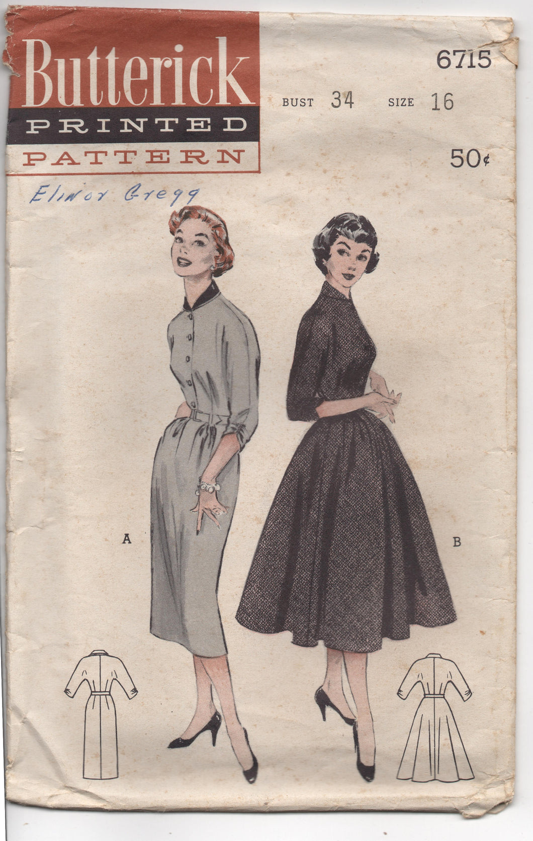 1950's Butterick One Piece Dress with Sloped Shoulders and Bouffant Skirt Pattern - Bust 34