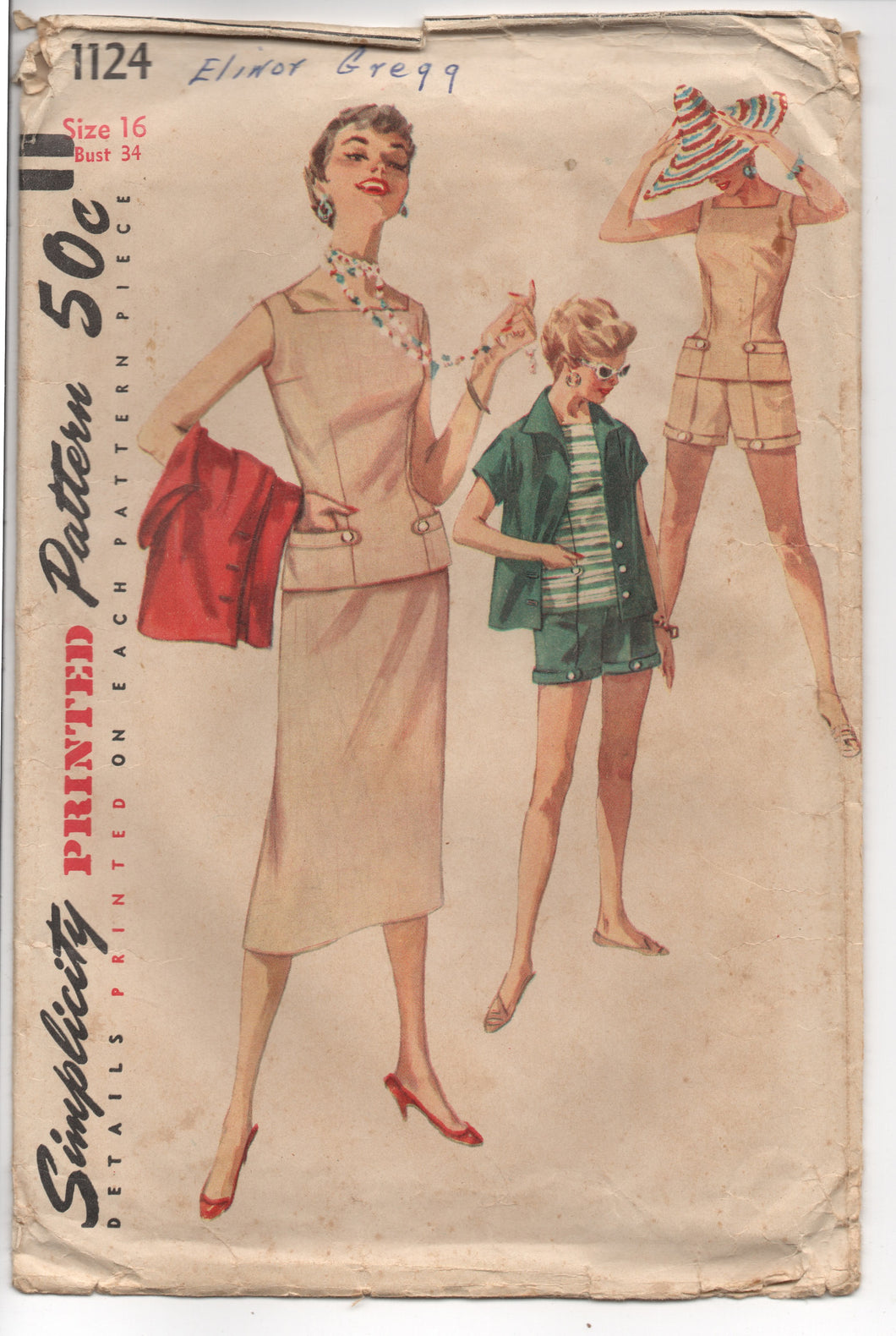 1950's Simplicity Summer Outfit with Slim Skirt, Shorts and Sleeveless Top Pattern - Bust 34