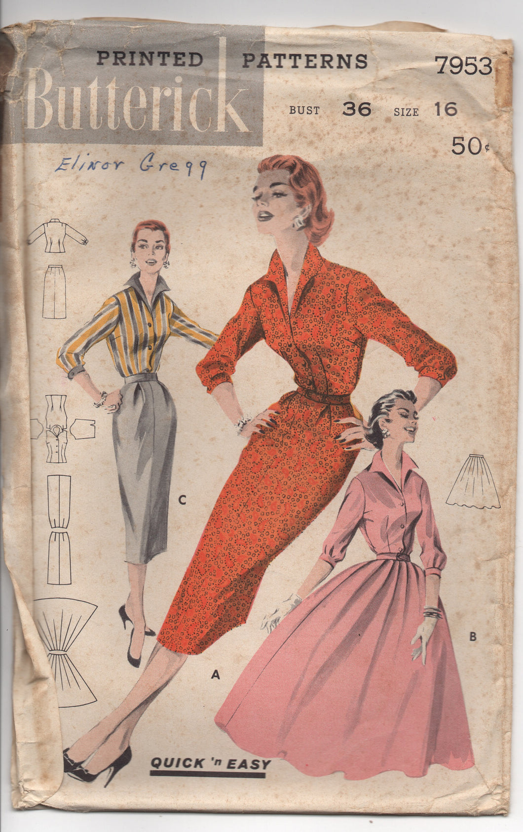 1950's Butterick Quick 'N East Blouse and Full or Slim Skirt Pattern - Bust 36