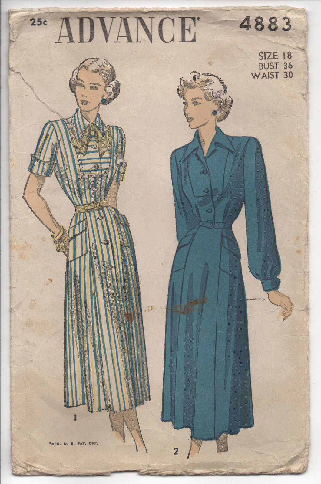 1940's Advance One-Piece Dress Long Yoke, Bow and Angular Pockets Pattern- Bust 36