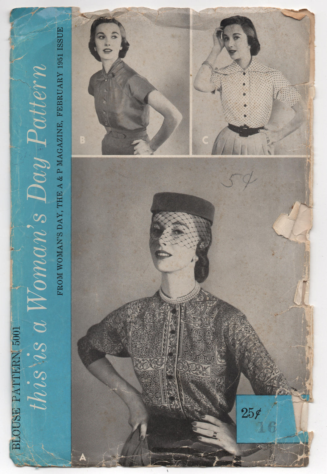 1950's Women's Day Blouse with 3/4 Raglan Sleeves and Three Collar Styles - Bust 34