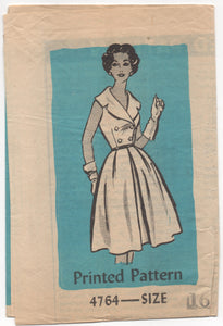 "1950's Ohio Farmer One Piece Dress with Double Breasted Look - Bust 34"" - No. 4764"